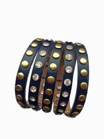 Lederen armband met studs blauw